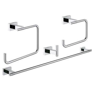 GROHE 4-Piece Essentials Cube Chrome Decorative Bathroom Hardware Set | 40778001