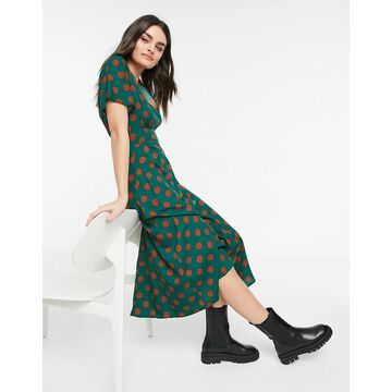 AX Paris straight wrap midaxi dress in spot-Green