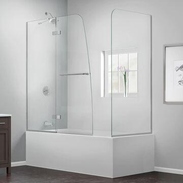 DreamLine Aqua Ultra 58-in H x 48-in W Frameless Hinged Brushed Nickel Bathtub Door (Clear Glass) | SHDR-3448580-RT-04