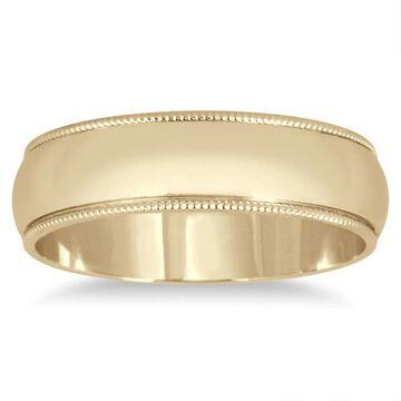 Marquee Jewels 14k Yellow Gold 5mm Milgrain Edge Comfort-fit Wedding Band