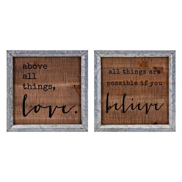 Imax Believe in Love Wall Decor - Set of 2