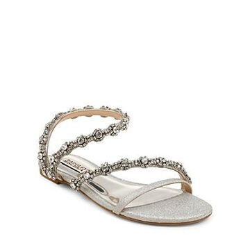 Badgley Mischka Women's Zia Crystal Embellished Glitter Slide Sandals