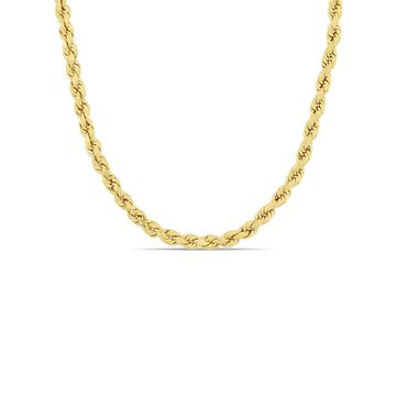 14k Yellow Gold 4mm Rope Chain Necklace