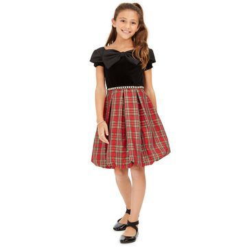 Big Girls Bow-Front Plaid Bubble Dress
