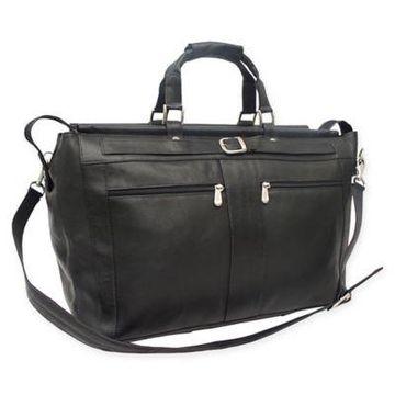 Piel Leather Carpet Bag in Black