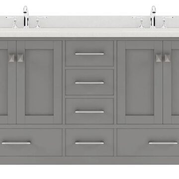 Virtu USA Caroline Avenue 60-in Double Bath Vanity in Cashmere Grey with Dazzle White Top and Round Sink in Gray | GD-50060-DWQRO-CG-NM