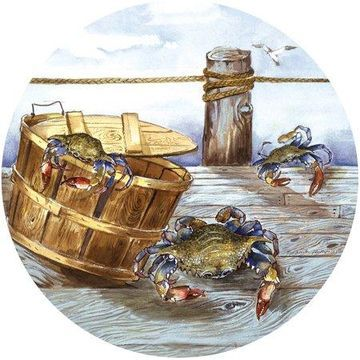 Thirstystone Drink Coasters Set, Blue Crabs on Pier