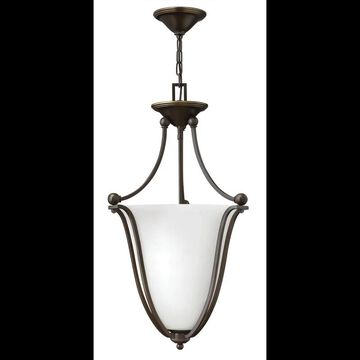 Hinkley Lighting 4663-OPAL 3 Light Indoor Urn Pendant with Etched Opal Shade from the Bolla Collection Olde Bronze Indoor Lighting Pendants Bowl