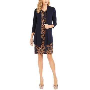 Open-Front Jacket & Printed Dress