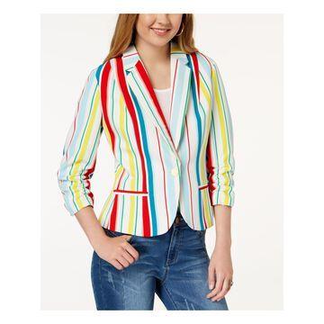 XOXO Womens White Striped Ruched Blazer Wear To Work Jacket Size: L