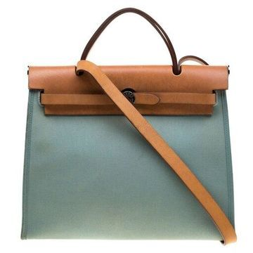 Hermes Light Blue/Brown Canvas and Leather Herbag Zip 31 Bag