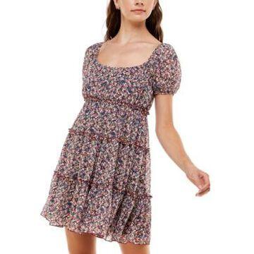 Trixxi Juniors' Emma Puff-Sleeve Tiered Dress
