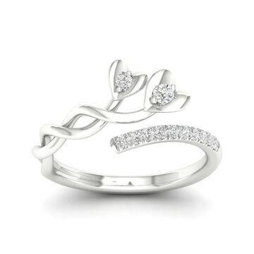 De Couer 10k White Gold 1/6ct TDW Diamond Heart Promise Ring (7.5)