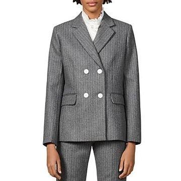 Sandro Tanya Striped Wool-Blend Blazer