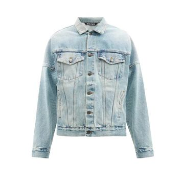 Palm Angels - Logo-print Denim Jacket - Mens - Blue