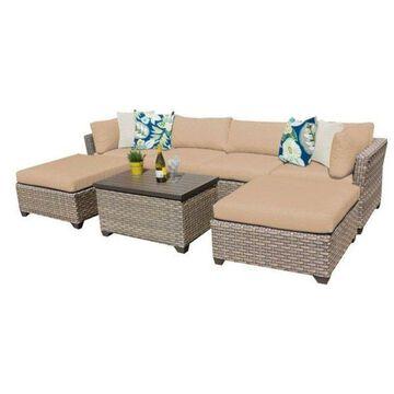 TK Classics Monterey 7-Piece Outdoor Wicker Sofa Set, Wheat