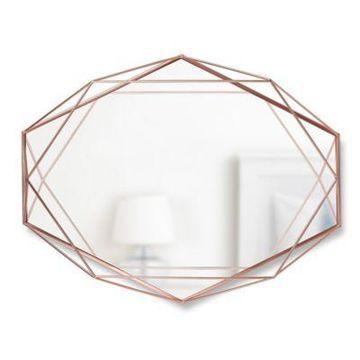 """Umbra Prisma 24.5"""" X 18.75"""" Wall Mirror In Copper"""