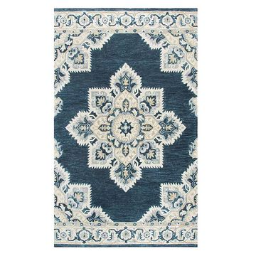 Rizzy Home Alina Resonant Collection Medallion Rug, Dark Blue, 2.5X8 Ft