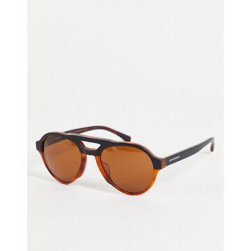 Emporio Armani aviator style sunglasses-Brown