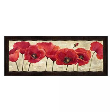 """Metaverse Art Red Poppies Framed Canvas Wall Art, Multicolor, 12""""X36"""""""