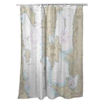SH14782 70 x 72 in. South Hero Island, VT Nautical Map Shower Curtain