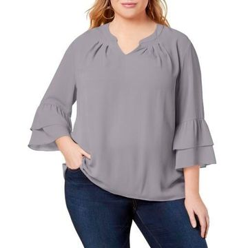 NY Collection Womens Plus Bell Sleeve V-Neck Blouse