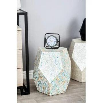 Natural 19 x 16 Inch Wood and Shell Faceted Accent Table by Studio 350