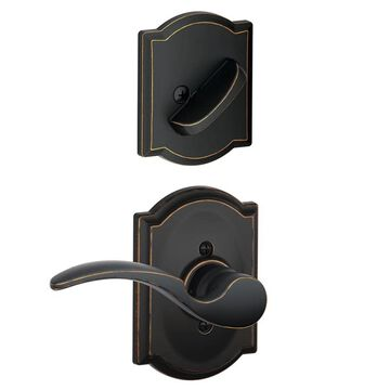 Schlage F94-STA-CAM-RH St. Annes Right Handed One-Sided Dummy Interior Pack with Camelot Trim - Exterior Handleset Sold Separately Aged Bronze