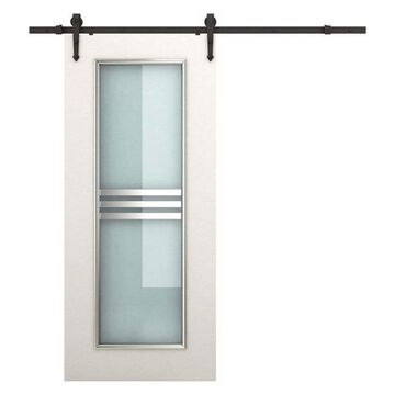Rustic 6' Interior Sliding Barn Door Kit Hardware Set, Black Carbon Steel Arrow