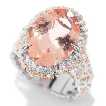 Michael Valitutti Palladium Silver Peach Morganite & White Zircon Halo Ring