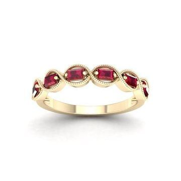 Imperial Gemstone 10K Yellow Gold Baguette Cut Ruby Women's Band