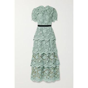 Self-Portrait - Grosgrain-trimmed Tiered Corded Lace Maxi Dress - Mint