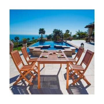 Vifah Malibu Outdoor 5-Piece Wood Patio Dining Set with Folding Chairs