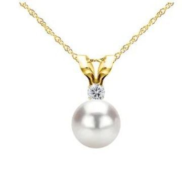 DaVonna 14k Gold 8-8.5 mm Japanese Akoya Cultured Pearl .01 CTTW Diamond Chain Pendant Necklace 18 inch (Yellow)