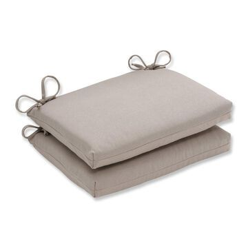 Pillow Perfect Outdoor Beige Squared Seat Cushions (Set of 2)