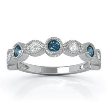 14K Gold London Blue Topaz & Diamond (0.12 Ct, G-H Color, SI2-I1 Clarity) Milligrain Wedding Band by Noray Designs