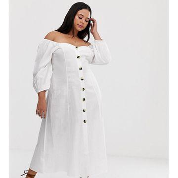 ASOS DESIGN Curve button through maxi dress in seersucker