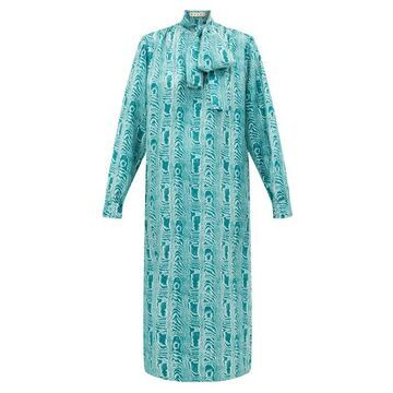 Marni - Tie-neck Silk Midi Dress - Womens - Green Multi