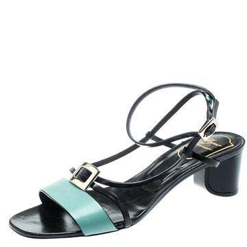 Roger Vivier Teal/Black Leather Ankle Strappy Sandals Size 36
