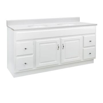 Design House Concord 61-in White Single Sink Bathroom Vanity with Solid White Cultured Marble Top | 592782