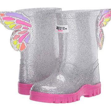 Sophia Webster Butterfly Welly (Infant/Toddler/Little Kid/Big Kid) (Silver Glitter) Women's Shoes