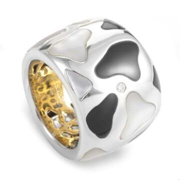 Roberto Coin Panda White & Yellow Gold Onyx and Mother of Pearl Ring