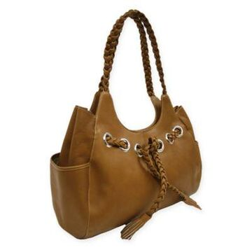 Piel Leather Classic Braided Hobo Bag in Saddle