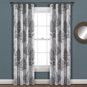 Lush Decor 2-pack Linear Tree Insulated Rod Pocket Blackout Window Curtain Set, Grey, 38X84
