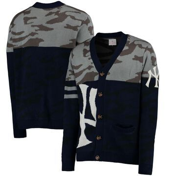 New York Yankees Camouflage Cardigan Sweater - Navy