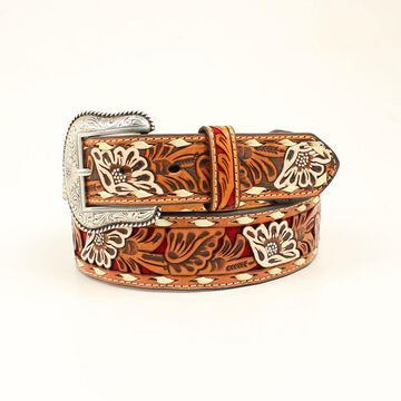 N2413004-44 Floral Painted Pierced Strap Laced Belt & Buckle, Red - Size 44