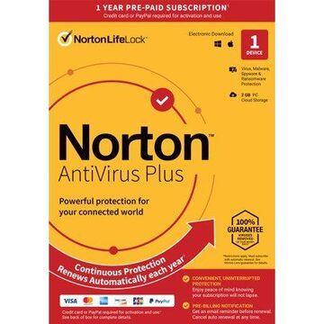 Norton AntiVirus Plus, 1 Device, 1 Year with Auto Renewal, PC/Mac Key Card
