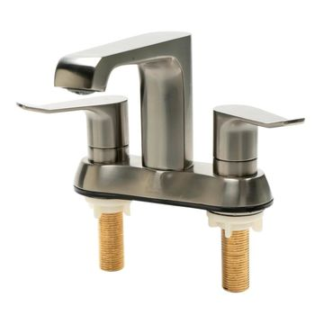ALFI brand AB1493-BN Brushed Nickel Two-Handle 4'' Centerset Bathroom Faucet