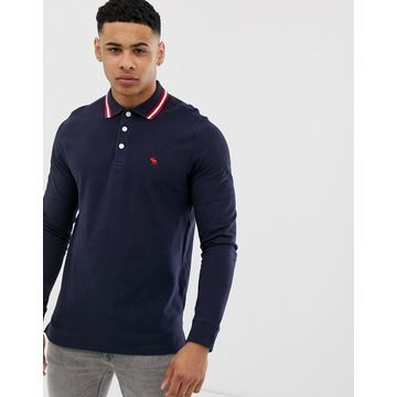 Abercrombie & Fitch icon logo tipped long sleeve polo in navy