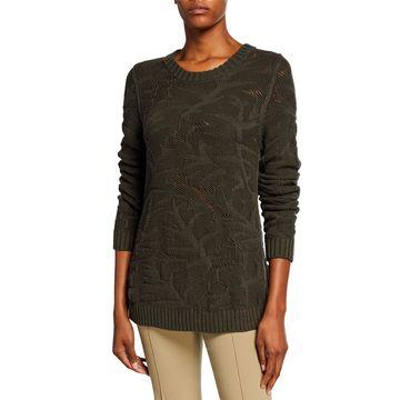 Chunky Leaf Jacquard Sweater